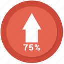 arrow, chart, growth, increase, seventy five icon