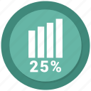 analytics, chart, growth, sales, twenty five icon