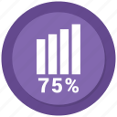 asset, growth, report, seventy five, statistics icon