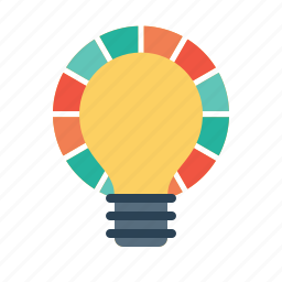 bulb, chart, idea, innovation, light, measure, risk icon