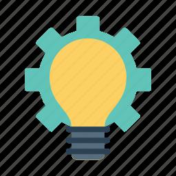 bulb, gear, idea, innovation, light, settings, startup icon