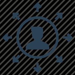 businessman, connection, expand, explore, knowledge, male, manpower icon