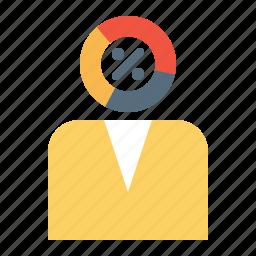 analysis, businessman, element, enterpreneur, infographic, risk, taking icon