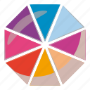 cartoon, chart, circle, diagram, divided, eight, pie icon