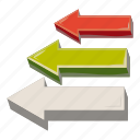 arrow, business, cartoon, chart, cursor, direction, left icon