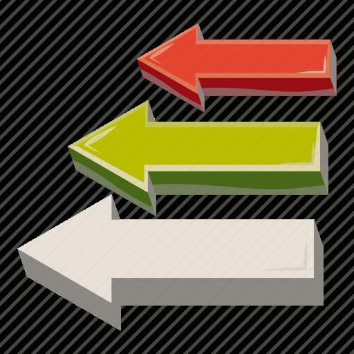 arrow, business, cartoon, chart, cursor, direction, left icon