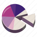 business, cartoon, chart, data, diagram, pie, purple icon