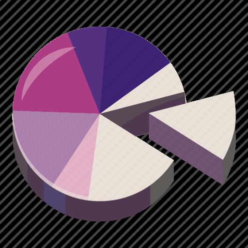 business, cartoon, chart, data, diagram, pie, purple icon