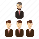 business, cartoon, office, person, success, team, teamwork icon
