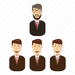 business, cartoon, office, person, success, team, teamwork icon
