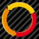 arrow, business, cartoon, chart, data, diagram, pie icon