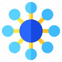 centralized, connections, graph, info, infochart, infographic icon