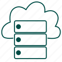 cloud, cloud server, cloud storage, computing, database, server, storage icon