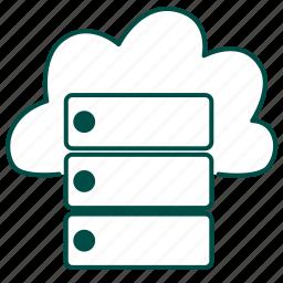 cloud, cloud server, cloud storage, computing, database, server, storage icon