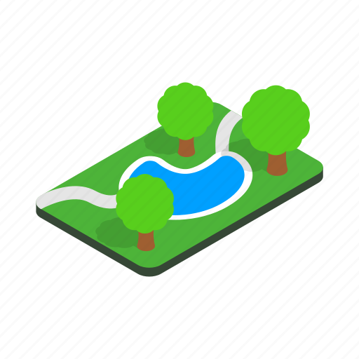 green, isometric, nature, outdoor, park, pond, tree icon