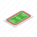 field, football, goal, grass, isometric, play, soccer icon