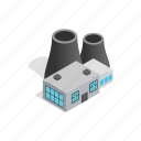 chimney, electricity, energy, isometric, plant, power, tower icon