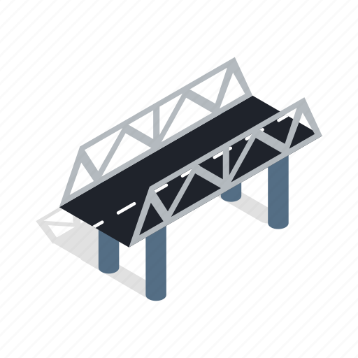 bridge, isometric, modern, road, traffic, transportation, travel icon