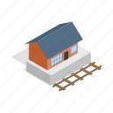 building, city, isometric, rail, station, train, travel icon