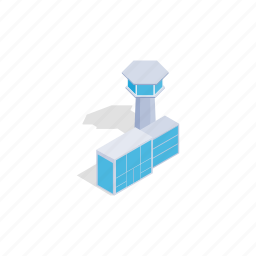 airplane, airport, building, isometric, tower, transport, travel icon