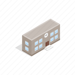 architecture, building, house, isometric, modern, school, shadow icon