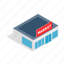 banner, building, business, horizontal, isometric, sale, supermarket icon