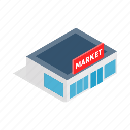banner, building, business, horizontal, isometric, sale, supermarket icon