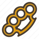 brass knuckle, fist, gangster, weapon icon