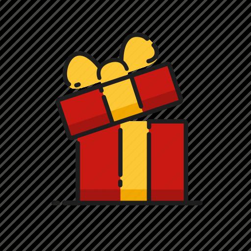 christmas, gift, open, ribbon icon