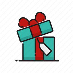 gift, gift box, opening, tag icon