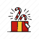 candy, candy cane, gift, surprise icon