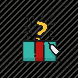 gift, idea, question mark, surprise icon