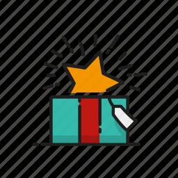 christmas, gift, star, xmas icon