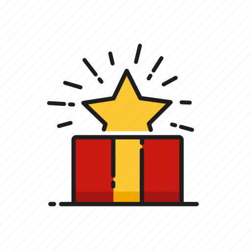 box, christmas, gift, star icon