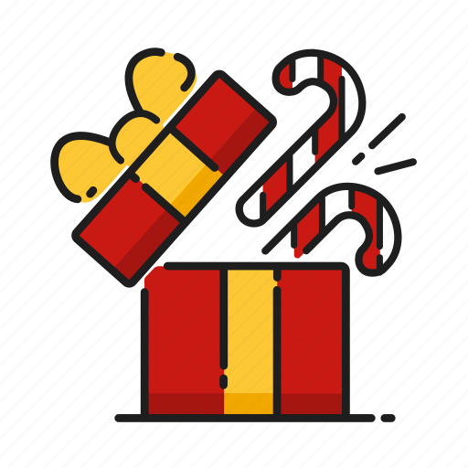candy cane, christmas, gift, opening icon