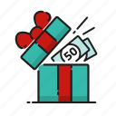 cash, gift, money, open icon