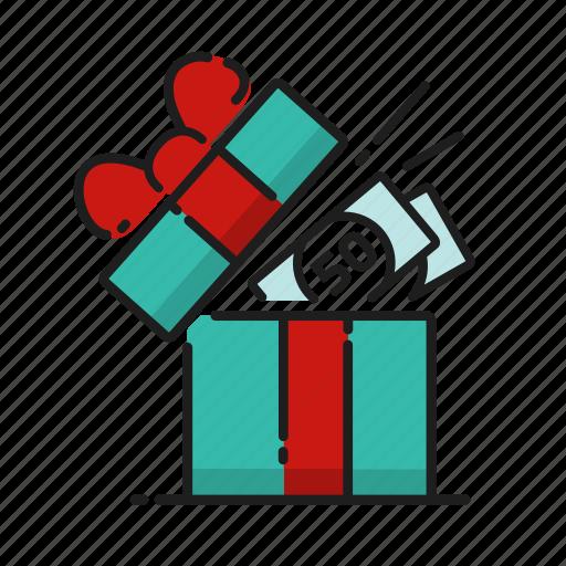 cash, gift, money, open icon