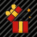 gift, opening, star, xmas icon