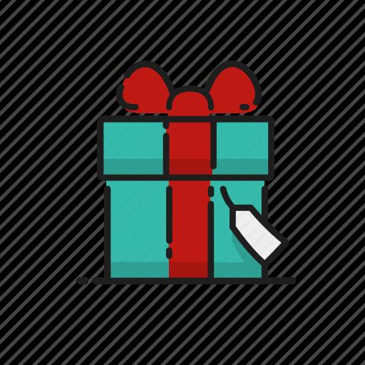 celebration, gift, ribbon, tag icon