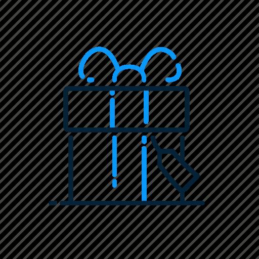 box, christmas, gift, ribbon icon