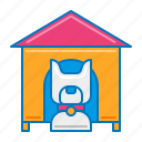dog, dog house, pet, pet service, service icon