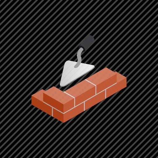 brick, build, isometric, tool, trowel, wall, work icon