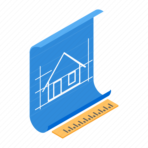 construction, design, engineering, house, isometric, plan, ruler icon