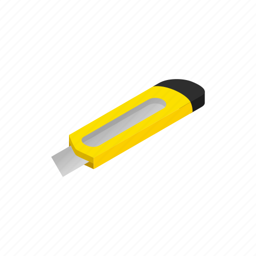 cutter, equipment, isometric, knife, metal, stationery, tool icon