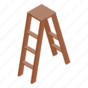 climb, construction, isometric, ladder, step, stepladder, tool icon