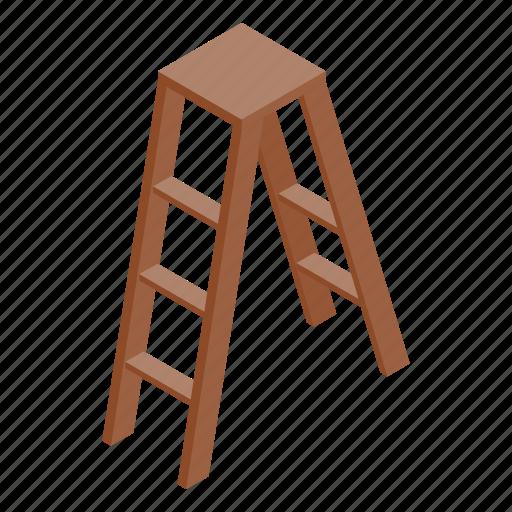 climb, construction, isometric, ladder, step, stepladder, tool icon
