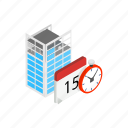 building, calendar, clock, date, event, isometric, time icon