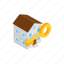 building, home, house, isometric, key, real, sale icon