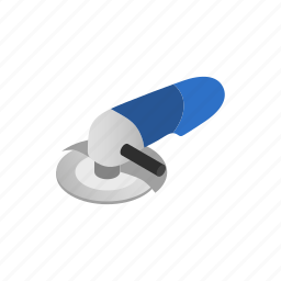 angle, circle, construction, grinder, isometric, power, tool icon
