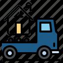 construction, house, tranfer, transport, truck icon